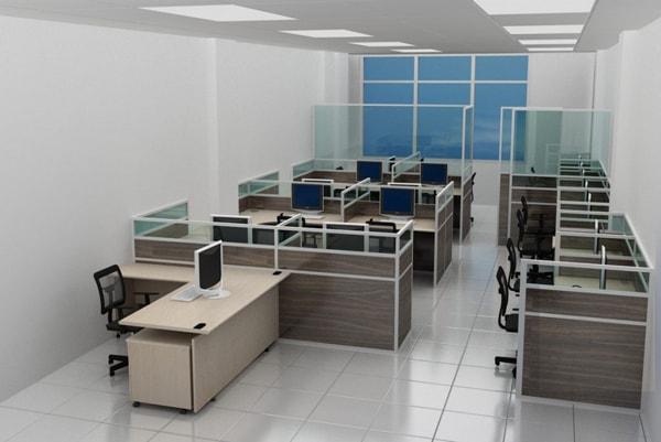 Gam màu ấm của vách là sự kết hợp hoàn hảo với bàn làm việc văn phòng