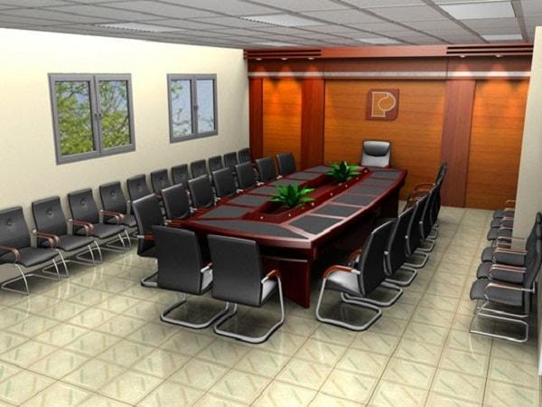 Bàn họp quây rỗng giữa phù hợp không gian sang trọng thể hiện rõ quyền lực của công ty, doanh nghiệp