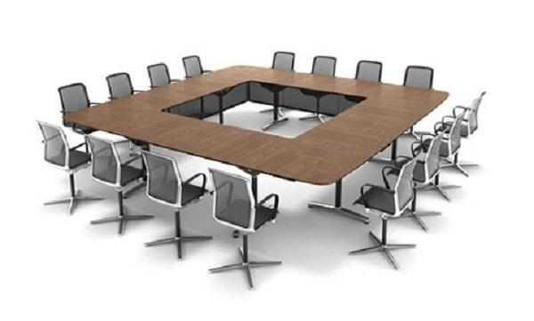 Bàn họp chân sắt quây rỗng giữa phù hợp với phòng họp hiện đại dành cho phòng họp lớn