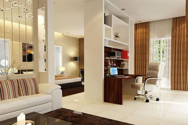 Vách ngăn có kết cấu đẹp tạo không gian nhà hẹp thêm rộng và chia nhiều không gian