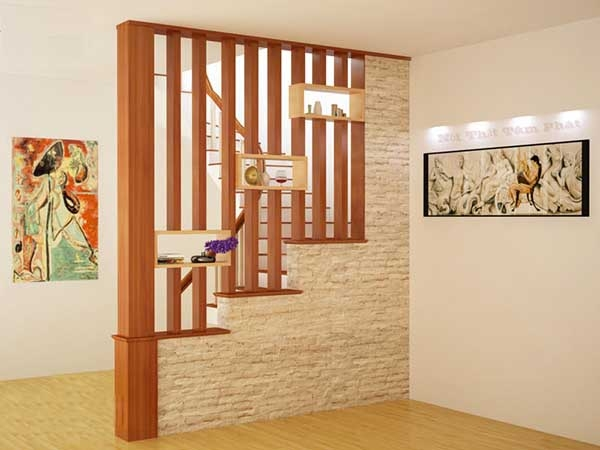 Cách bố trí vách ngăn phòng khách và cầu thang đẹp
