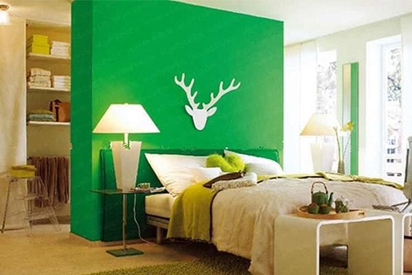 Màu sắc nổi bật của vách ngăn tạo điểm nhấn cho căn phòng