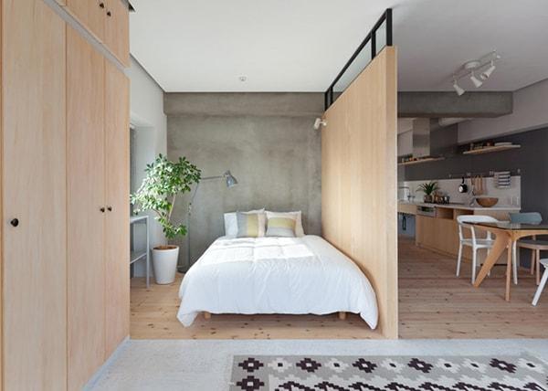 Chất liệu gỗ đem lại không khí ấm áp cho phòng ngủ