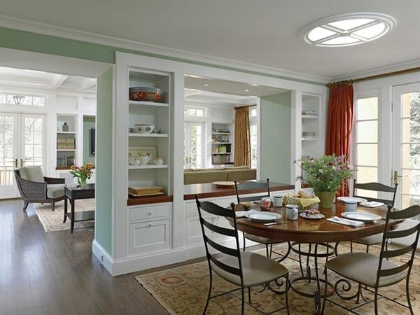 Các loại vách ngăn dùng để phân chia phòng khách - phòng bếp