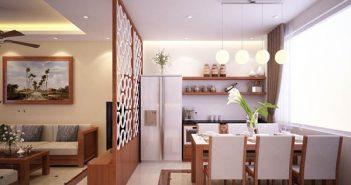 Các kiểu vách ngăn phòng khách và bếp được dùng phổ biến hiện nay
