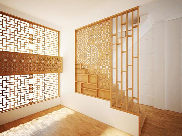 Vách ngăn phòng khách làm bằng gỗ tinh tế