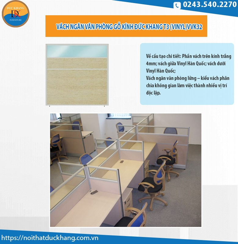 Vách ngăn T3 gỗ kính VVK32: 812.000 đồng/m2