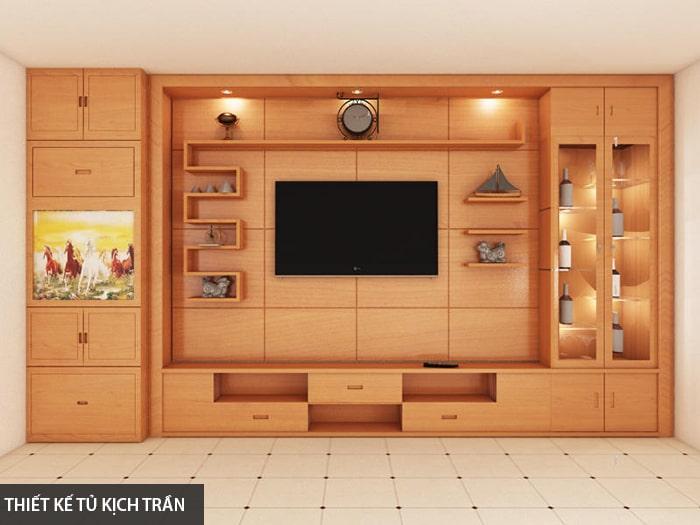 Thiết kế tủ tường gỗ kịch trần