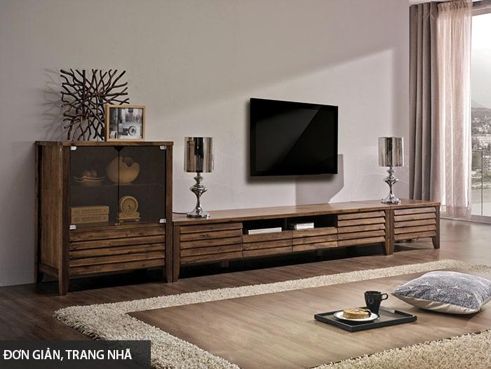 Thiết kế tủ tường gỗ đơn giản, trang nhã