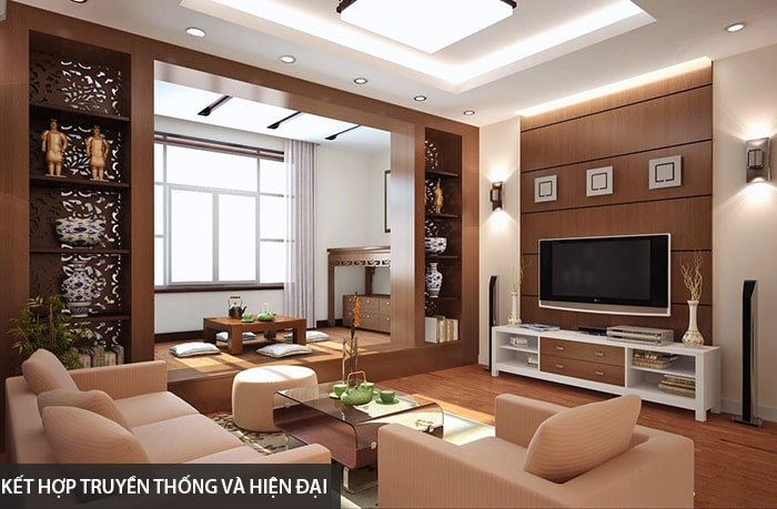 Thiết kế tủ tường gỗ kết hợp truyền thống và hiện đại