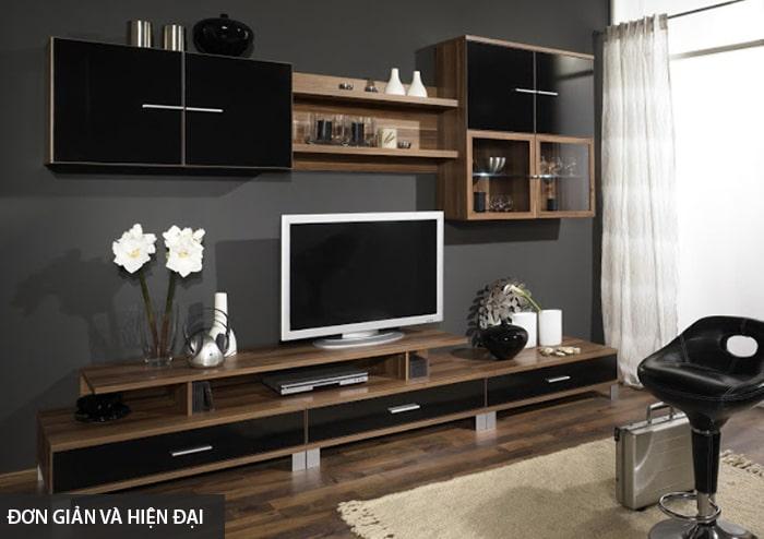 Thiết kế tủ tường gỗ đơn giản, hiện đại